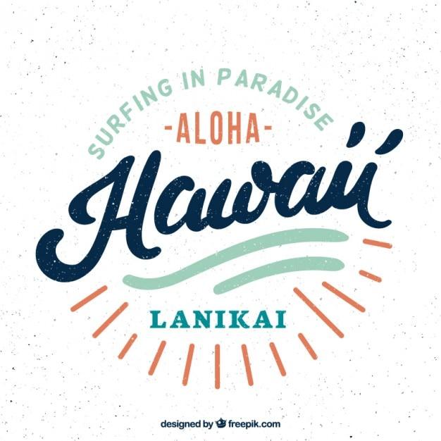 Retro distintivo hawaiano del surf Vettore gratuito