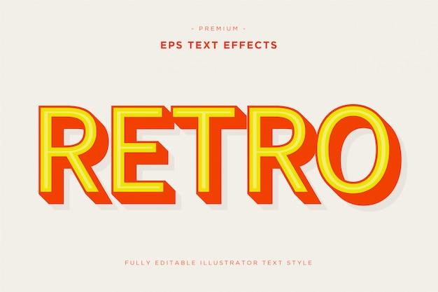 Retro effetto di testo 3d Vettore Premium