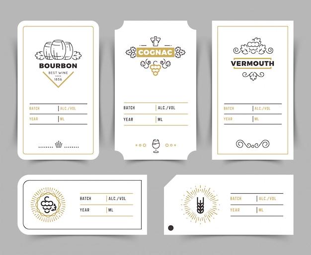 Retro emblemi di vettore di bere alcol. etichette vintage di bourbon, whiskey e brandy Vettore Premium