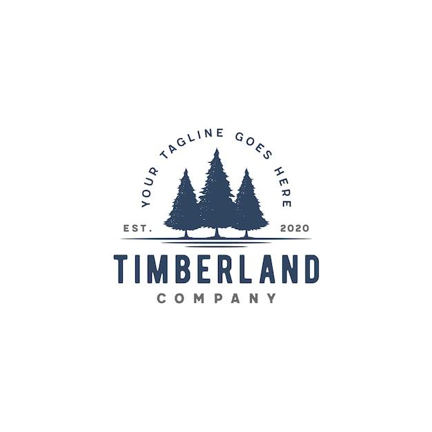 Retro evergreen vintage, pini, abete rosso, alberi di cedro logo Vettore Premium