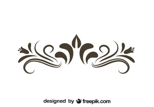 Retro floreale elemento grafico decorativo Vettore gratuito