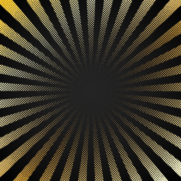 Retro fondo nero astratto con lo sprazzo di sole di semitono Vettore Premium