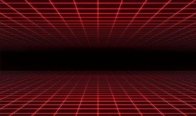 Retro fondo rosso futuristico astratto di griglia del laser. Vettore Premium
