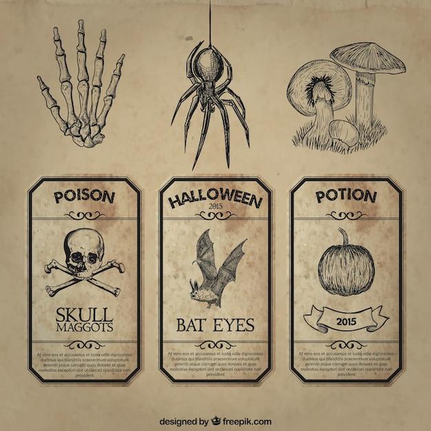 Retro halloween contrassegna l'accumulazione Vettore gratuito