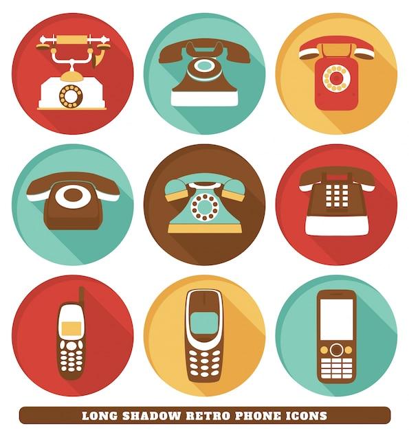 Retro icone del telefono Vettore gratuito