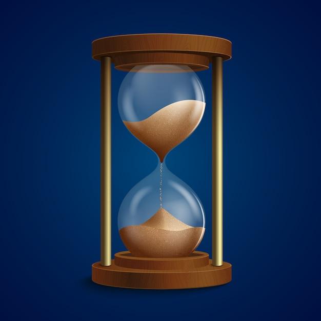 Retro illustrazione della clessidra dell'orologio Vettore gratuito