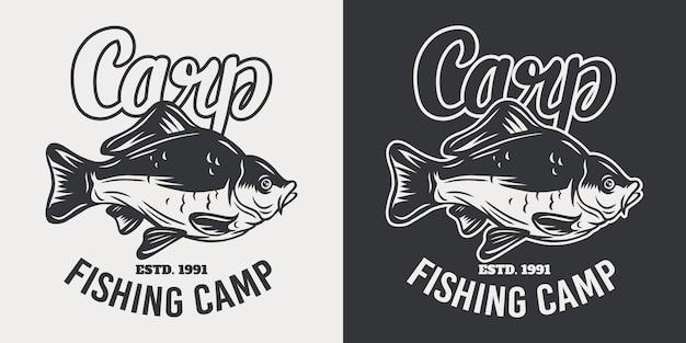Retro illustrazione isolata del pesce della carpa dell'emblema d'annata su un bianco. Vettore Premium
