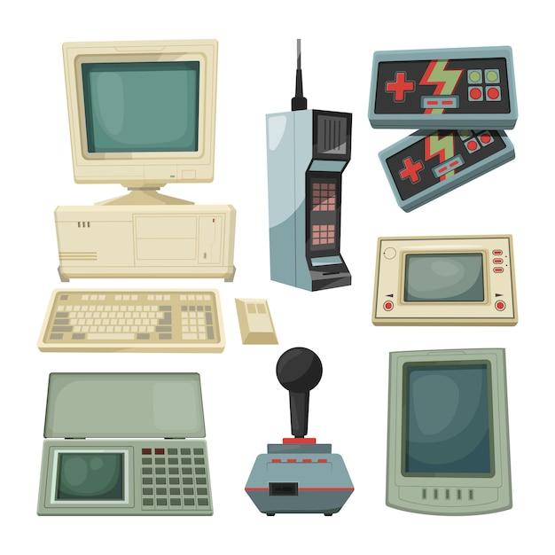 Retro illustrazioni di gadget tecnici. immagini vettoriali Vettore Premium