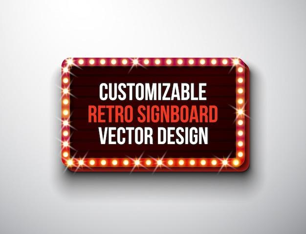 Retro insegna di vettore o illustrazione lightbox Vettore Premium