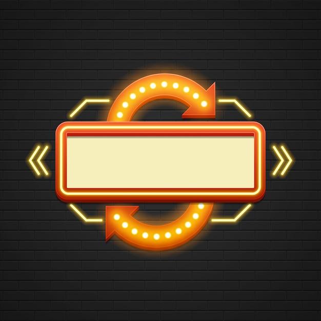Retro lampadine del contrassegno del contrassegno del cinema di vendita del segno di showtime e lampade al neon Vettore Premium