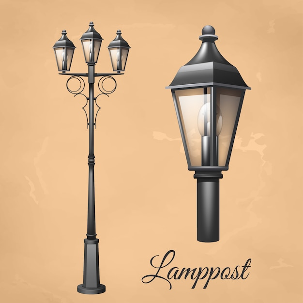 Retro lampione vintage set con lanterna di elettricità Vettore gratuito