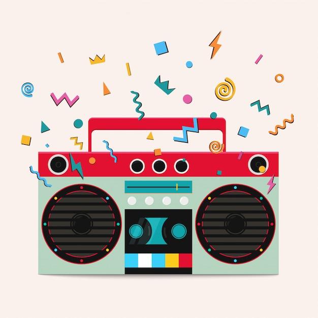 Retro lettore di cassette stereo. Vettore Premium