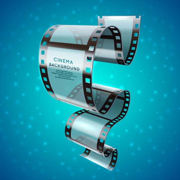 Retro manifesto del cinema astratto con il rotolo della striscia di pellicola Vettore Premium