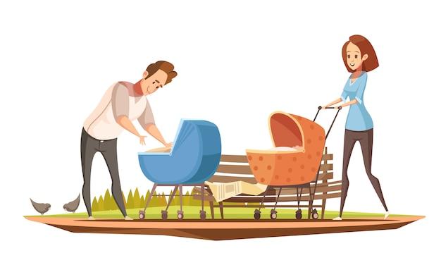 Retro manifesto del fumetto di mansioni di parenthood con la madre ed il padre con 2 bambini in illustrazione all'aperto di vettore delle carrozzine Vettore gratuito