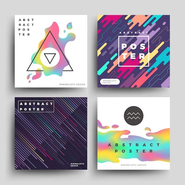 Retro manifesto geometrico olografico e di movimento Vettore Premium