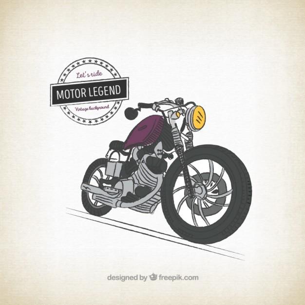 Retro mano moto disegnato sfondo Vettore gratuito