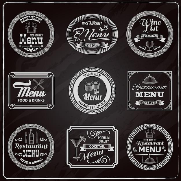 Retro menu etichette lavagna Vettore gratuito