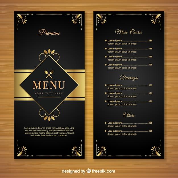Retro modello di menu con ornamenti dorati Vettore gratuito