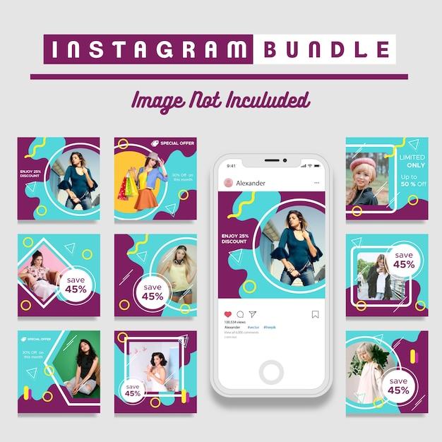 Retro modello di moda Post Instagram Vettore Premium