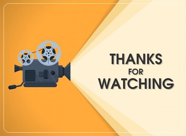 Retrò movimento proiettore cinematografico con testo grazie per la visione. Vettore Premium