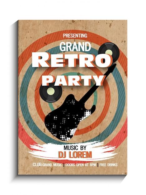Retro musica party celebrazione vintage flyer, banner o modello di progettazione. Vettore Premium