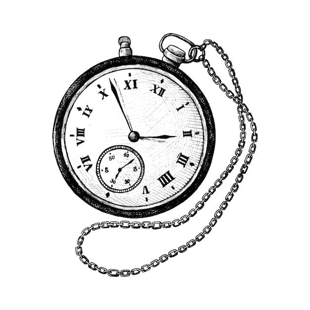 Retro orologio da tasca disegnato a mano Vettore gratuito