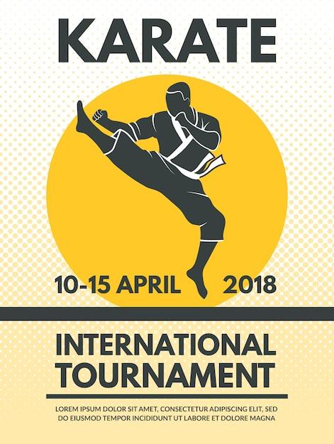 Retro poster al campionato di combattimento di karate Vettore Premium