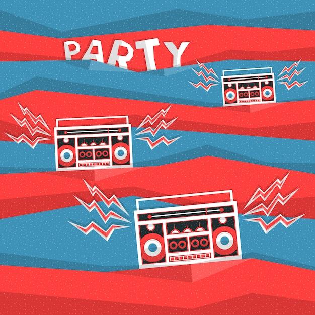 Retro priorità bassa astratta di vettore di musica di partito degli anni 80 Vettore Premium