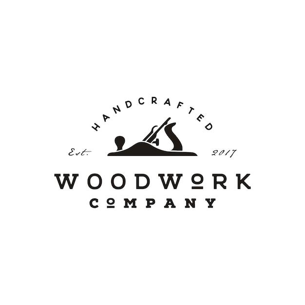 Retro progettazione di logo di falegnameria dell'annata di jack plane Vettore Premium