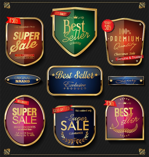 Retro raccolta di etichette e distintivi dorati vettoriale Vettore Premium
