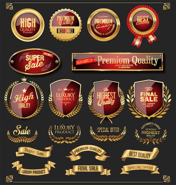 Retro raccolta di etichette e scudi di nastri dorati vettoriale Vettore Premium