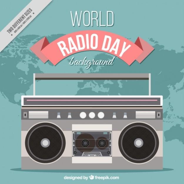 Retro radio del mondo di fondo giorno in design piatto Vettore gratuito