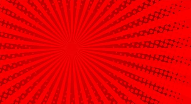 Retro raggi comici. sfondo rosso mezzitoni sfumatura. stile pop art. Vettore Premium