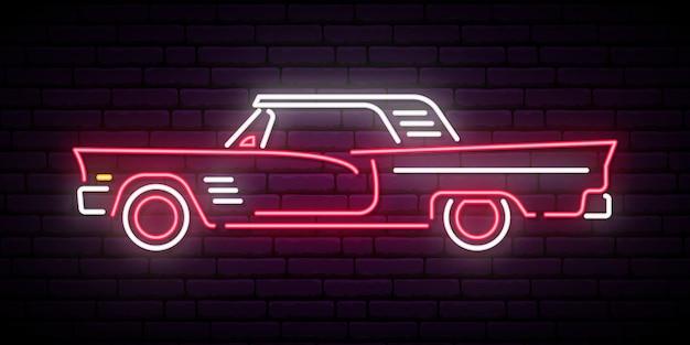 Retro segno al neon dell'automobile rossa. Vettore Premium