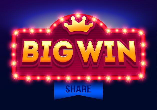 Retro segno con lampada big win banner, design con poker, carte da gioco, slot e roulette. Vettore Premium