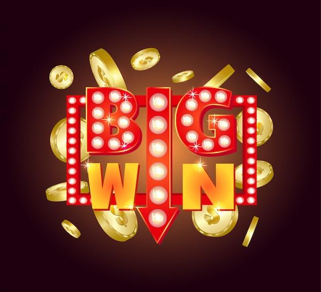 Retro segno con lampada big win. illustrazione vettoriale Vettore Premium