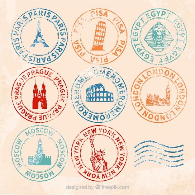 Retro selezione di francobolli di città con diversi colori Vettore gratuito