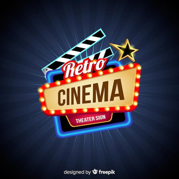Retro sfondo del cinema Vettore gratuito
