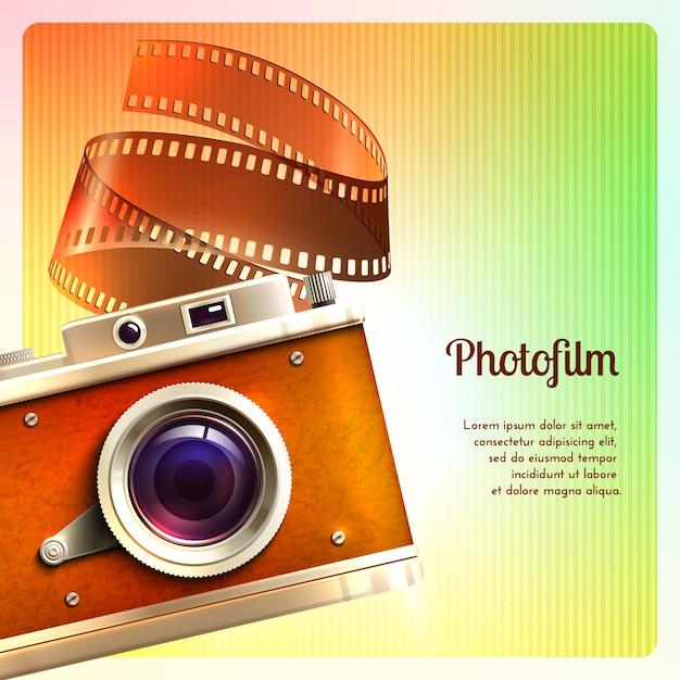 Retro sfondo della fotocamera Vettore gratuito