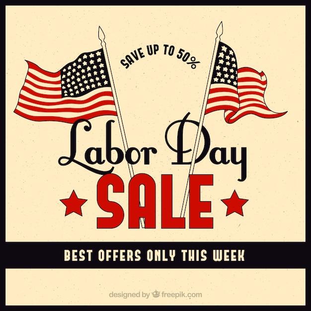 Retro sfondo delle vendite giornaliere del lavoro con le bandiere americane Vettore gratuito