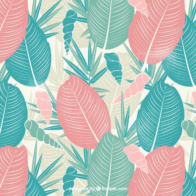 Retro sfondo di foglie di palma e conchiglia disegnata a mano Vettore gratuito