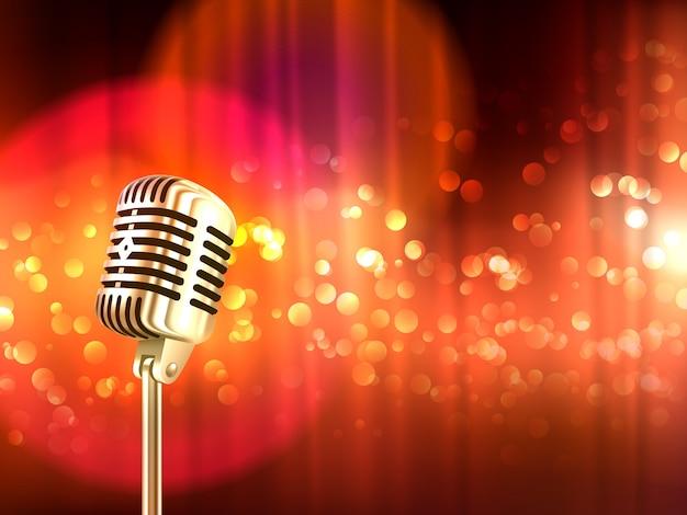 Retro sfondo vintage microfono poster Vettore gratuito
