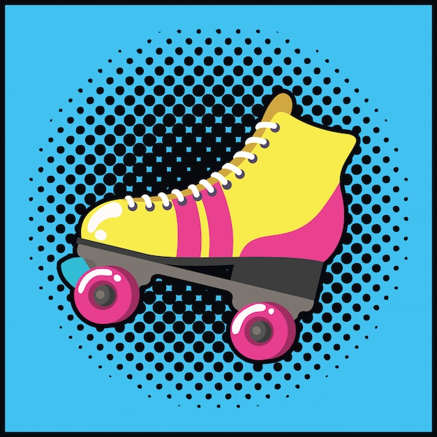 Retro skate stile pop art Vettore Premium