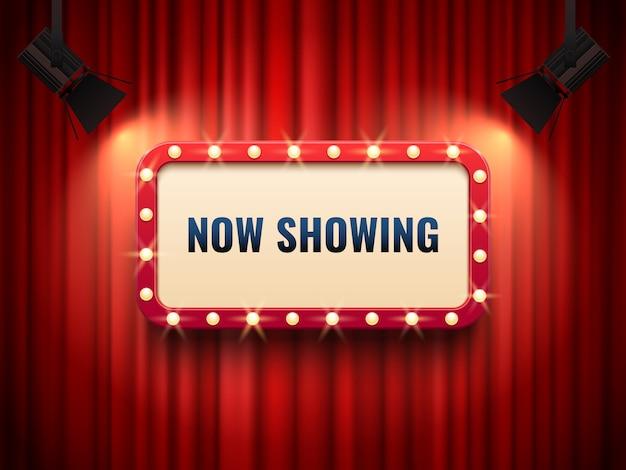 Retro struttura del cinema o del teatro illuminata dai riflettori. Vettore Premium