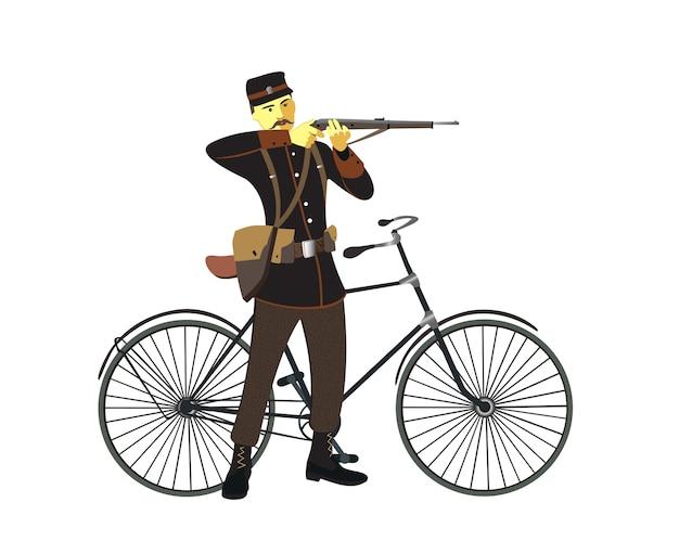 Retro Vecchia Bicicletta Dellannata E Uomo Militare Scaricare