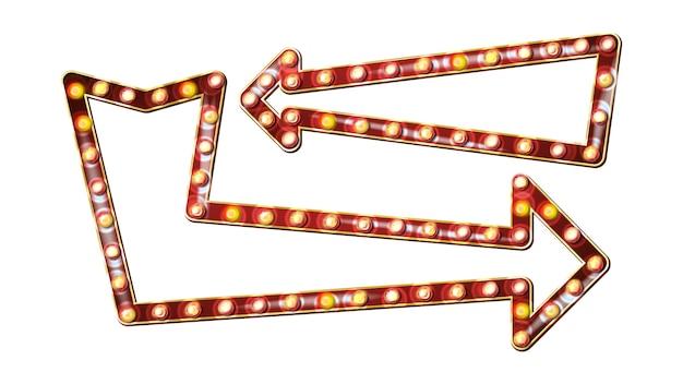 Retro vettore del tabellone per le affissioni delle frecce. bordo luminoso del segno della luce della freccia. realistico telaio della lampada shine. luce al neon illuminata d'oro vintage. carnevale, circo, casino style. illustrazione isolata Vettore Premium