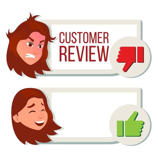 Revisione cliente, recensione positiva, recensione negativa. Vettore Premium