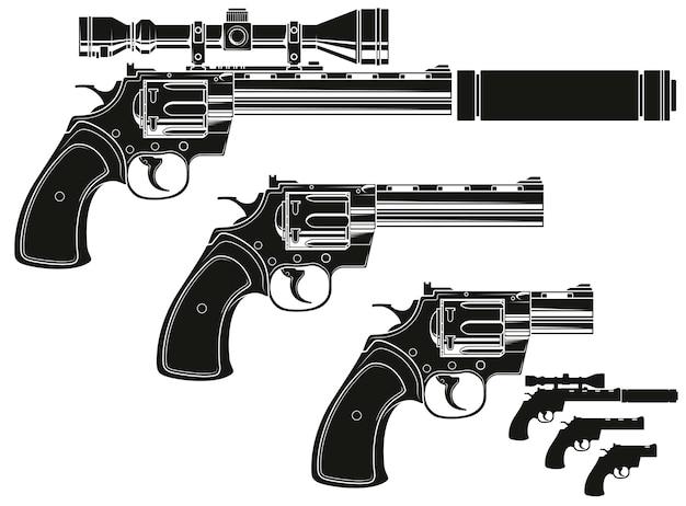 Revolver silhouette grafica con mirino ottico Vettore Premium