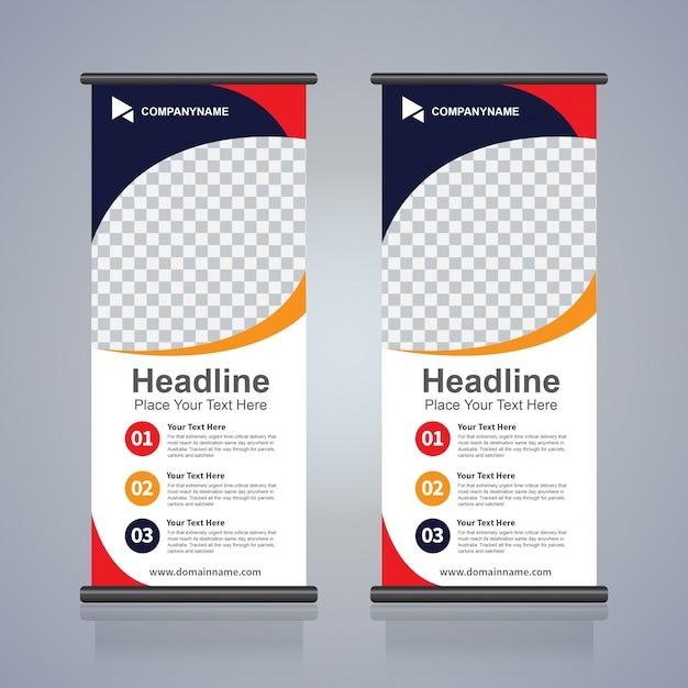 Riagganciare il modello di progettazione di banner per flyer brochure, sfondo astratto, tirare su disegno, moderno x-banner e flag-banner, dimensione rettangolare. Vettore Premium