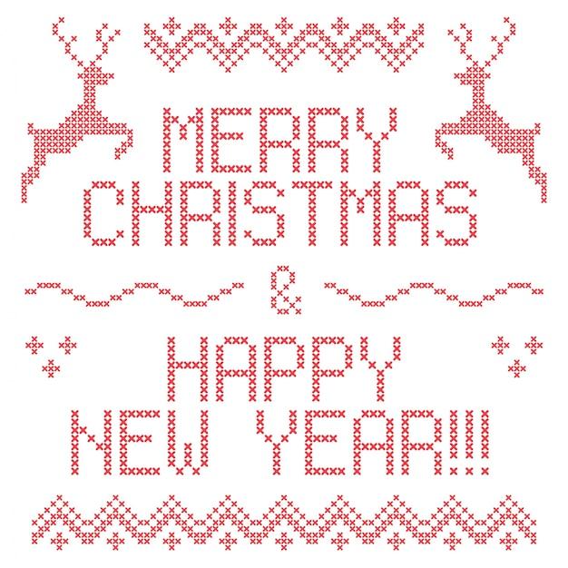 Biglietti Di Natale A Punto Croce.Ricamo Natalizio A Punto Croce Buon Natale E Felice Anno Nuovo